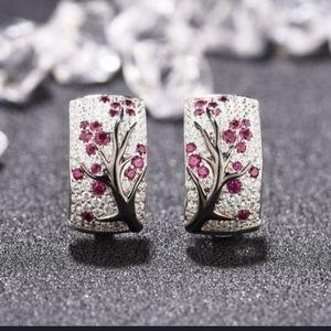 HP!! NWT Pink Rhinestone Cherry Blossom Earrings